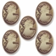 Cameo, Marie, Ivory on Brown, 39x29mm Oval Cabochon (5PK)