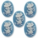 Cameo, Flowers, White on Blue 39x30mm Oval Cabochon (5PK)