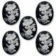 Cameo, Flowers, White on Black 39x30mm Oval Cabochon (5PK)