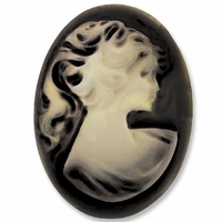 Cameo, Marie, Ivory on Black 39x29mm Oval Cabochon (5PK)