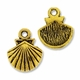 Antiqued Gold 14mm Shell Charm