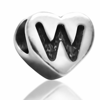 7mm Heart Letter W Bead
