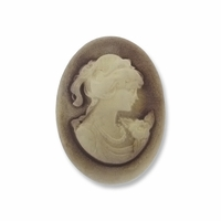 Cameo, Ava, Ivory on Brown 25x18mm Oval Cabochon (5PK)