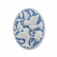 Cameo, Birds, White on Blue 27x20mm Oval Cabochon (5PK)