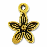 Antiqued Gold Plated 13mm Flower Charm (1PC)