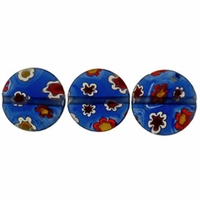 Navy Puffed Button 10x10mm Millefiori Beads (1 Strand)