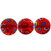 Red Puffed Button 10x10mm Millefiori Beads (1 Strand)