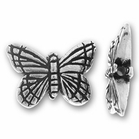 Antique Silver Monarch Butterfly Bead