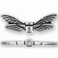 Antique Silver Dragonfly Wings Bead