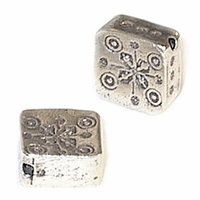 Thai Silver 11mm Square Sterling Silver Bead (1PC)