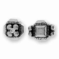 Antique Silver Deco Cube Bead