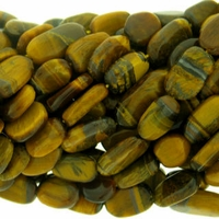 Tiger Eye Flat Oval Beads 14 inch Strand