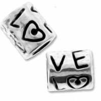 Antiqued Silver Large Hole Love Bead (1PC)