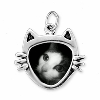 Cat Face Picture Frame Sterling Silver Charm