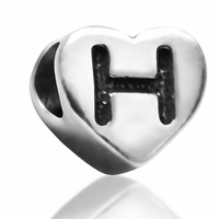 7mm Heart Letter H Bead