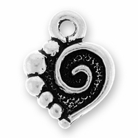 Antique Silver Spiral Heart Charm