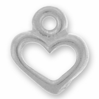 Antique Silver Open Heart Charm