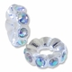MIOVI™   Silver Plated Large Hole 12mm Crystal AB Rhinestone Rondel Bead (1PC)