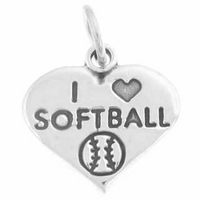 I Love Softball Charm