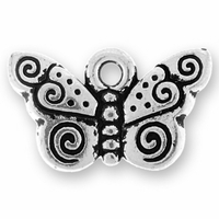 Antique Silver Spiral Butterfly Charm