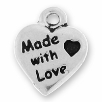 Antique Silver Made With Love Charm