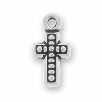 Antique Silver Beaded Cross Charm