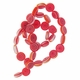 Chevron Flat Round Beads 10mm Red 16 inch Strand