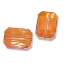 18x13mm Rectangle Crystal Topaz Copper Effects Bead (1PC)