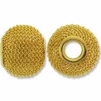 MIOVI™ Gold Plated Large Hole 16x13mm Mesh Bead (1PC)