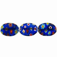 Navy Puffed Oval 10x14mm Millefiori Beads (1 Strand)