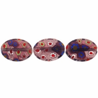 Purple Puffed Oval 10x14mm Millefiori Beads (1 Strand)