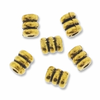 Antiqued Gold 5mm Barrel Beads (5PK)