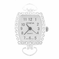 Silver Loop Rhinestone Square Watch Face
