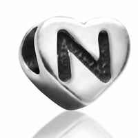 7mm Heart Letter N Bead