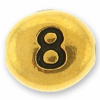 Antique Gold Number Bead 8