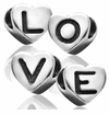 Sterling Silver Heart Shaped Letter Beads