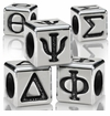 7mm Sterling Silver Greek Letter Beads