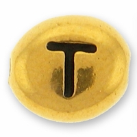Antique Gold Letter Bead  T