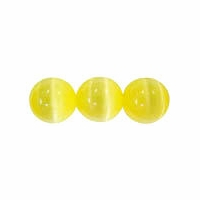 Yellow 6mm Cats Eye Glass Beads 16 Inch Strand