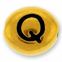 Antique Gold Letter Bead  Q