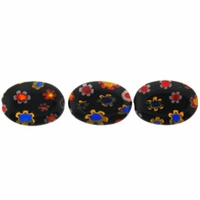 Black Puffed Oval 10x14mm Millefiori Beads (1 Strand)