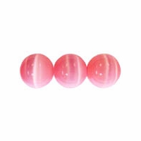 Pink 6mm Cats Eye Glass Beads 16 Inch Strand