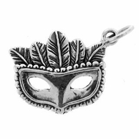 Mardi Gras Mask Sterling Silver Charm