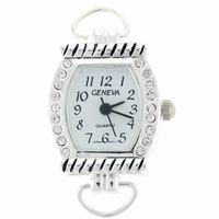 Silver Loop Rhinestone Rope Bar Watch Face