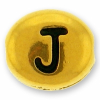 Antique Gold Letter Bead  J