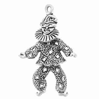 Harlequin Clown Movable Sterling Silver Charm