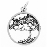 Cypress Tree Sterling Silver Charm