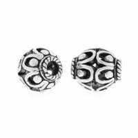Oval Filigree 7mm x 6.5mm Sterling Silver Bead (1PC)
