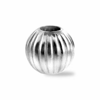 7mm Sterling Silver Corrugated Round Bead (1PC)