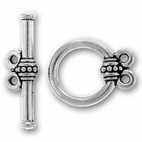 Antique Silver Beaded 2-Loop Toggle Clasp Set